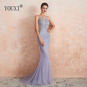 Image 3 - Youxi luxo frisado cristal vestidos de noite 2020 sexy puro pescoço lavanda sereia formal do baile de formatura para as mulheres sem mangas
