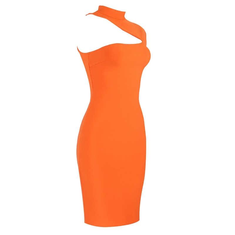 2019 Vestidos 女性のセクシーなデザイナー白オレンジ包帯ドレス有名人ナイトクラブパーティードレス