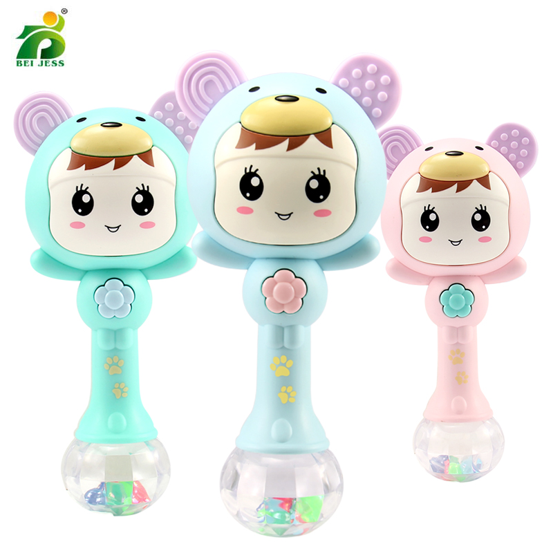 1Pcs Baby Rattles 0-12 Monther Plastic Music Educational Toys For Baby  Soft Hand Rattles Shaker Newborn Mobile Toys Dropship