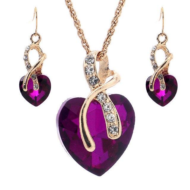 Conjunto de joyería de cristal de arcoíris Vintage para mujer, aretes colgantes de Color dorado con abalorio para mujer, corazón amor, collar de cadena de boda Simple 3