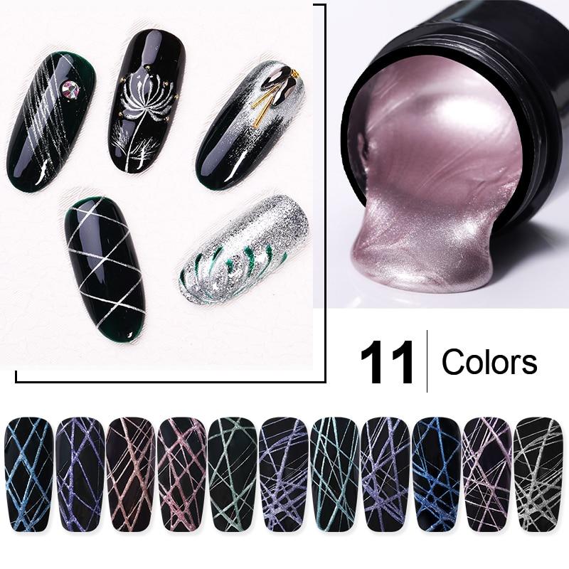 5ml Metallic Spider UV Gel Polish Purple Blue Soak Off Elastic Drawing Gel Nail Art Gel Hybrid Varnishes All For