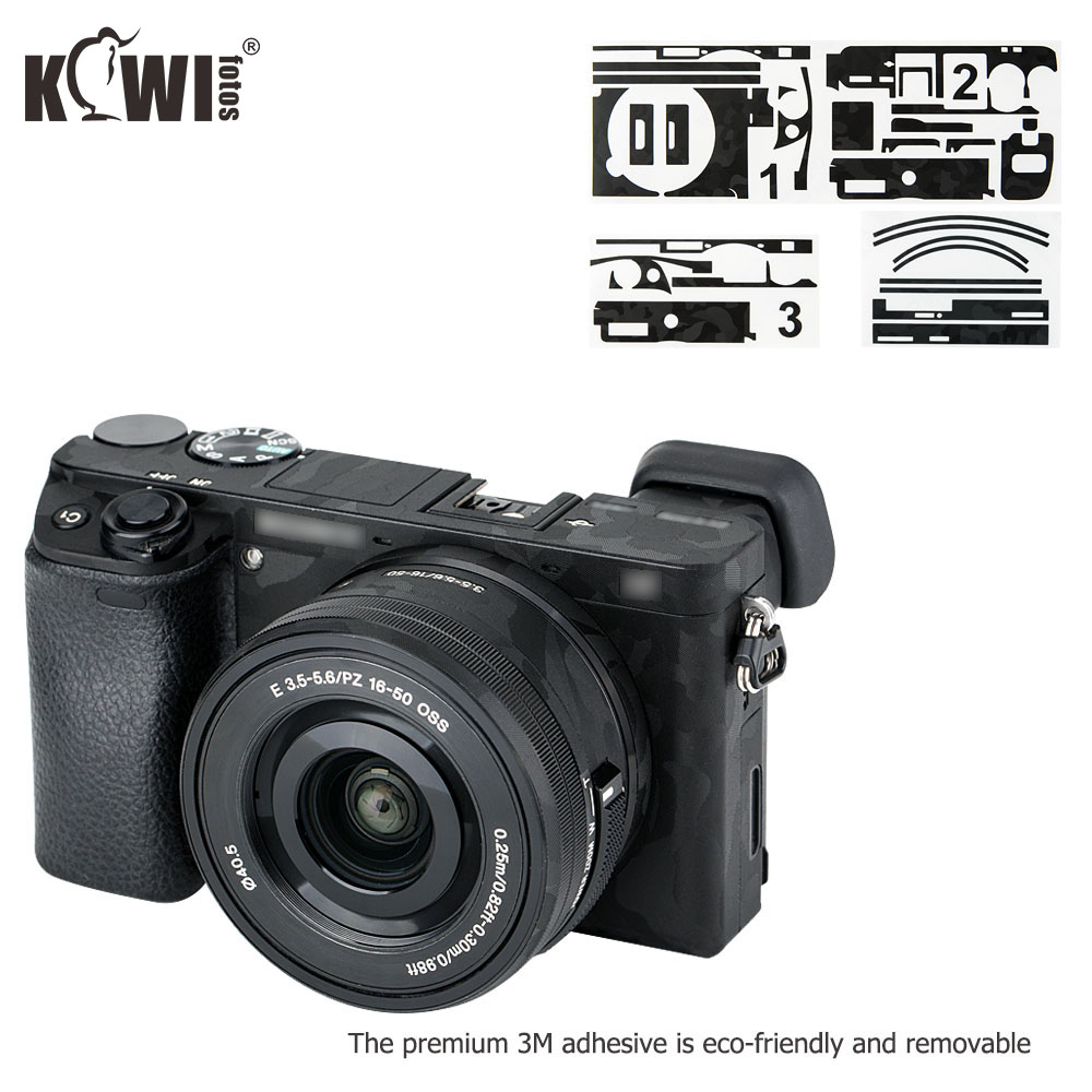 Kiwifotos Anti-Scratch Camera Body Skin Cover Protector Film For Sony Alpha A6100 A6300 A6400 + SELP1650 16-50mm Lens 3M Sticker