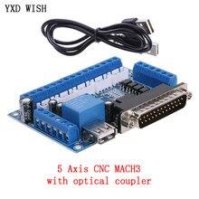 Panneau de moteur pas à pas MACH3 CNC, Interface avec câble USB pour pilote de moteur pas à pas 5 axes, contrôle de Port parallèle