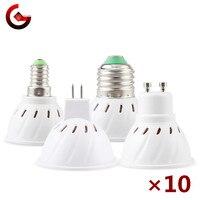10 unids/lote MR16 GU10 E27 E14 Bombilla de foco LED 220V Bombillas LED lámpara 48 60 80 LED 2835 SMD lámpara de luz blanco frío/calor