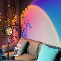 Lámpara de proyección de atardecer RGB con Control remoto, luz LED nocturna con USB de 16 colores para el hogar, dormitorio, tienda, decoración de fondo de pared