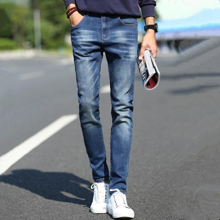 Jeans Men's Cotton Washing Cat Whisker Jeans Skinny Trousers Men's Fashion Slim Fit Large Size Men's Trousers