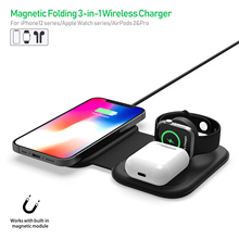Caricabatterie Wireless magnetico pieghevole 15W per Magsafe iPhone 12 Mini Pro Max Qi caricabatterie rapido per Apple iWatch 6 5 4 AirPods Pro