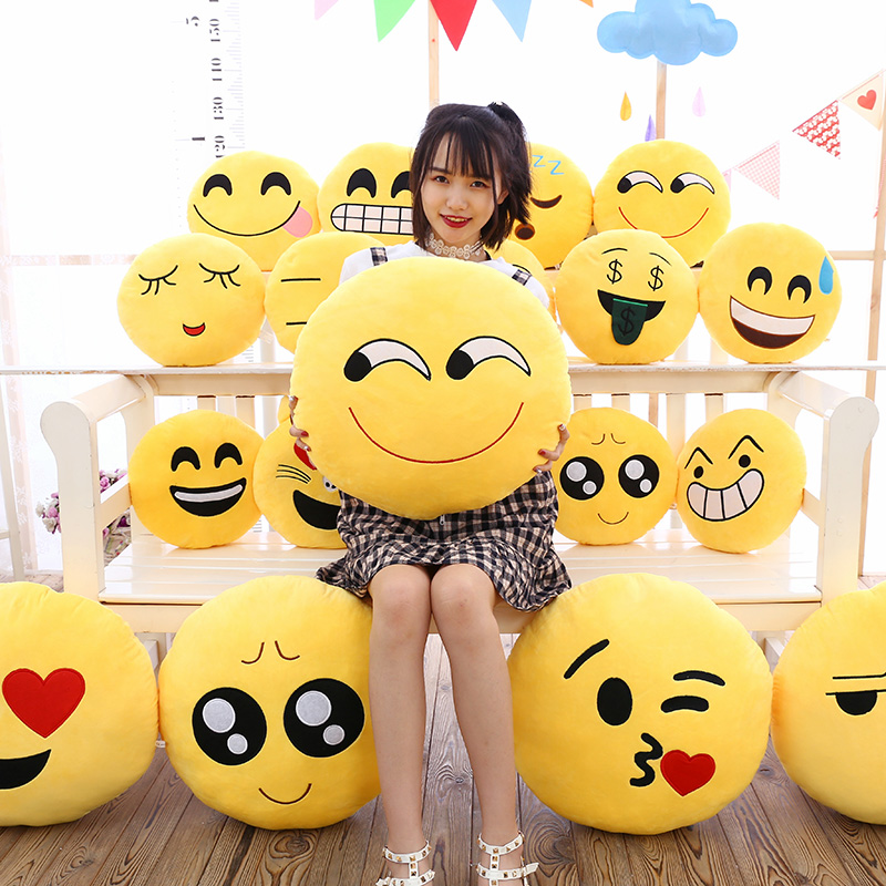 Yellow Soft Face Wrap Pillow Smile Round Cushion Plush Little Gift Funny Fun Pillow,pillow Emoticon
