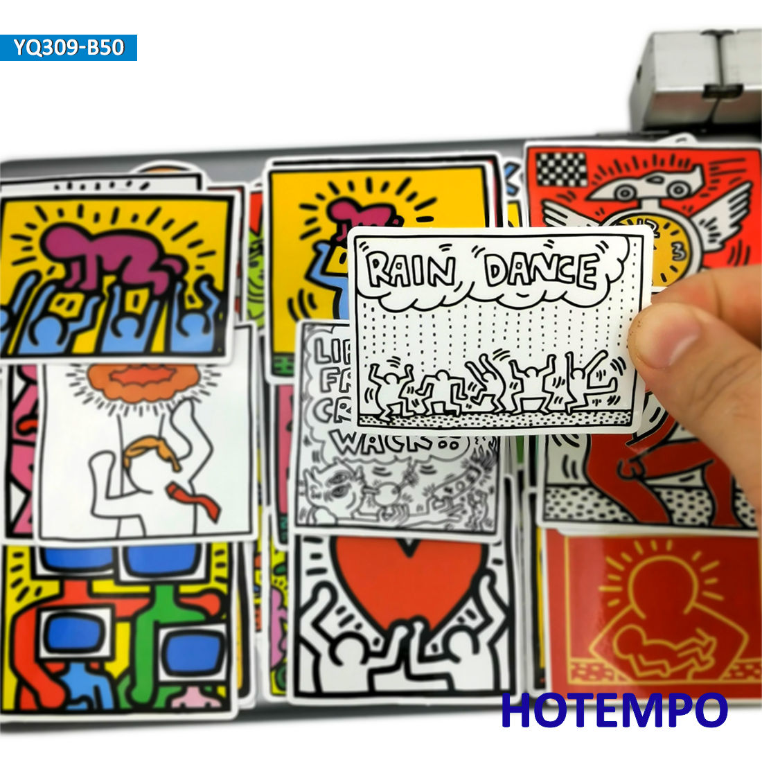 50pcs Pop Art Style Graffiti Artist Keith Haring Stickers For Mobile Phone Laptop Luggage Pad Case Skateboard Bike Moto Stickers