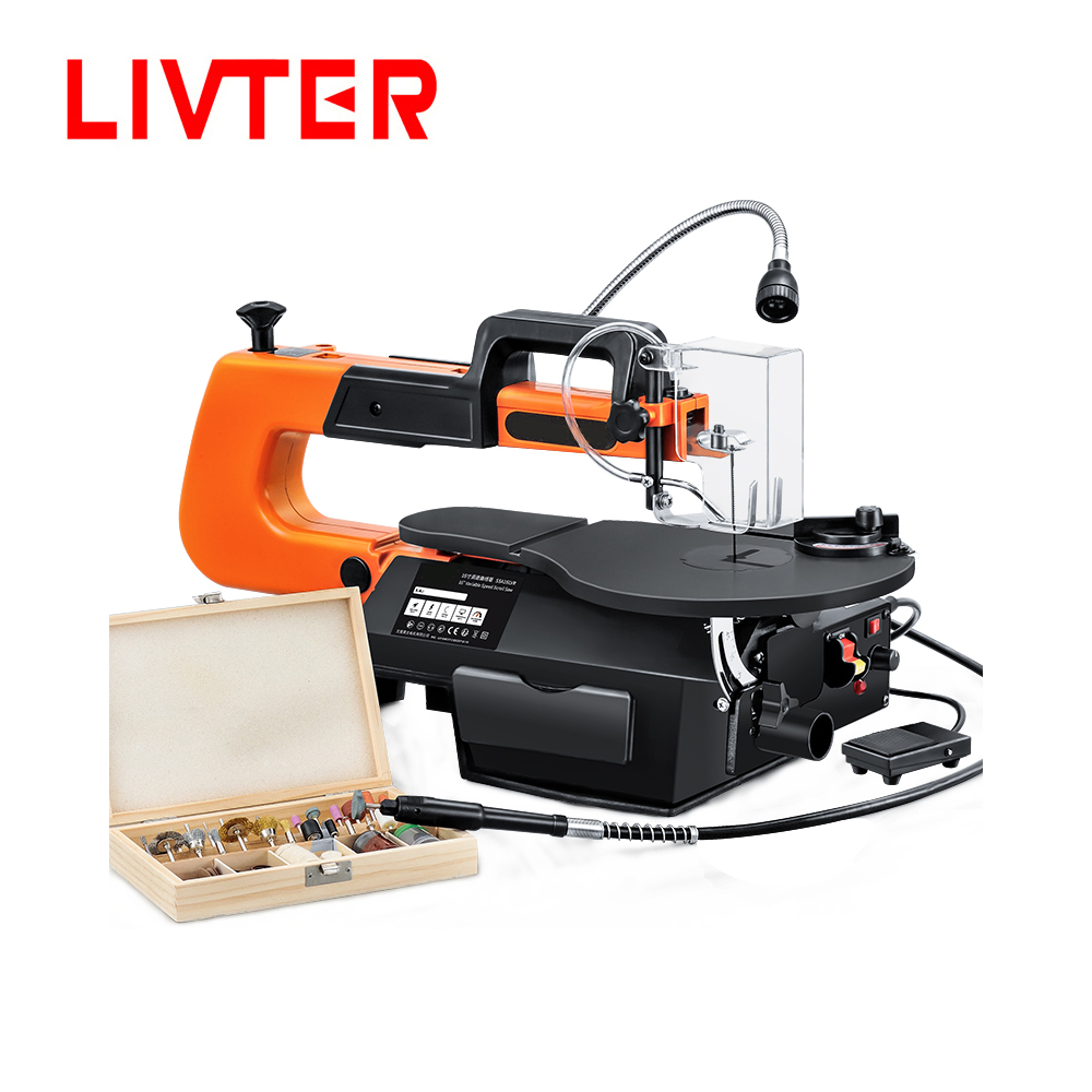LIVTER 16 inch Electric Scroll Jig Saw Woodworking Wire Sawing Carving Machine Carpentry Cutting Table Saw Adjustable Speed