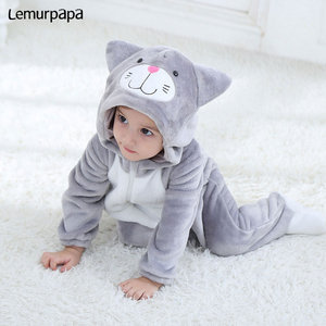 Image 2 - Baby Romper Charmmy Cat Costume Boy Girl Kawaii Onesie Zipper Hooded Animal Cartoon Newborn Infant Toddler Clothes Warm Soft