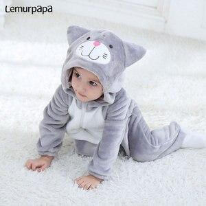 Image 2 - Baby Romper Charmmy kostium kota chłopiec dziewczyna Kawaii Onesie zamek z kapturem kreskówka zwierzęta noworodka maluch ubrania ciepłe miękkie