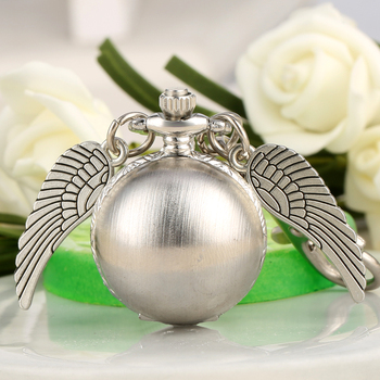 цена на Classic Vintage Quartz Small Pocket Watch Ball Wing Pendant Fob Watches Arabic Number Display Steampunk Gifts with Key Chain