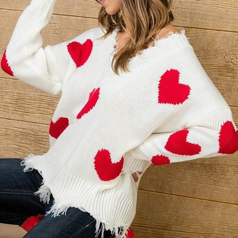 Women Casual Heart Printed Elegant Sweater Long Sleeve Sexy V Neck Women Pullovers 2019 Autumn Winter Warm Loose Knieted Jumpers
