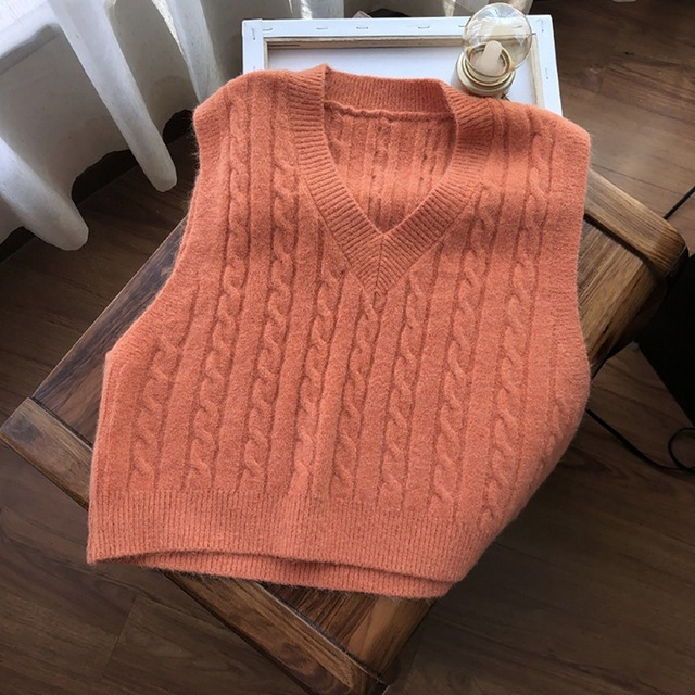 Muyogrt Autumn Sweater Vest Women's Solid Knitted Vest Korean Style Student V-neck Pullover Loose Casual Knitting Tops Outerwear 1