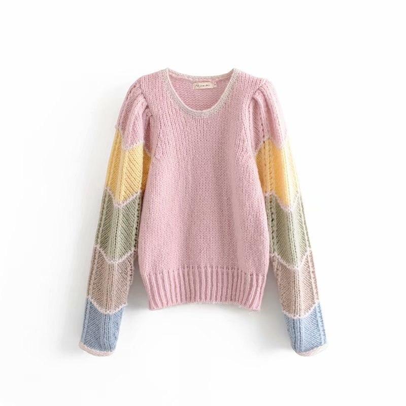 Женские свитера и пуловеры, Уродливый Рождественский свитер, женская зимняя одежда, пэчворк, круглый вырез, Blusas Mujer De Moda, Радужный свитер