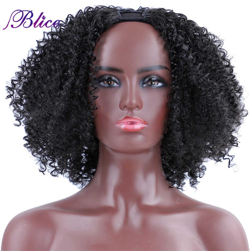 Blice sintético U parte peluca Afro rizado máquina pelucas con peines 170g para las mujeres en el invierno