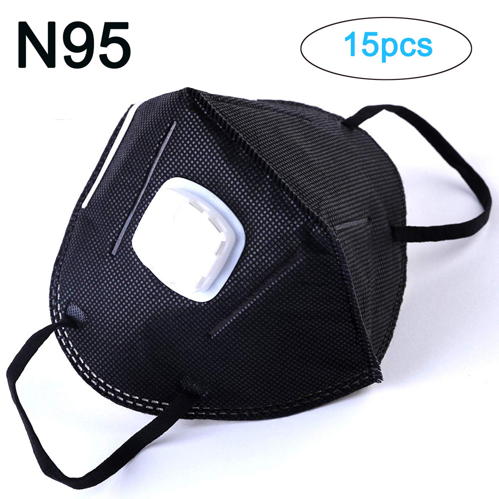 NIOWORLD 15 Pieces Anti Pollution Face Mask Mouth Black Mask Protection Dust Outdoor Mouth Mask N95 PM2.5 Dust Mask With Valve