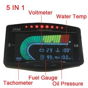 Image 3 - 12 فولت 24 فولت سيارة شاحنة LCD الرقمية النفط قياس ضغط فولت الفولتميتر مقياس درجة حرارة الماء معيار الوقود/مقياس سرعة الدوران 5 وظيفة في 1