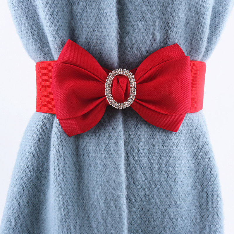 Red White Black Fashion Elastic Belts For Women Ladies For Dress Korean Bow Wide Waist Seal Rhinestone Stretch Strap Waistband