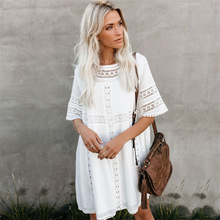 Beach Dress Women Swim Suit Cover Up Tunic Cape On Swimsuit Women's Summer New Cloth Lace Loose Skirt Outer Shirt Solid