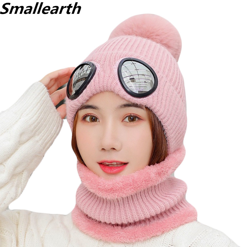 New Winter Hat Scarf Set For Women Warm Girl Plus Velvet Head Earmuffs Glasses Cap Female Winter Thick Knitted Hats 2 Pieces Set