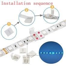 4 pinos led luz tira conectores 10mm unwired gapless solderless adaptador terminal de extensão para smd 5050 multicolorido led strip
