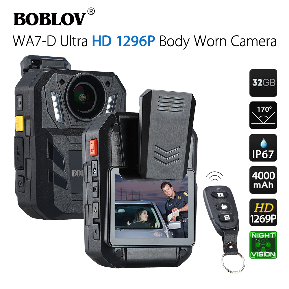 BOBLOV WA7-D 32GB Police Camera Ambarella A7 4000mAh Battery Mini Comcorder DVR HD 1296P Remote Control Body Cam Policia