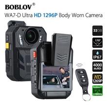 BOBLOV WA7-D 32GB Police Camera Ambarella A7 4000mAh Battery Mini Comcorder DVR HD 1296P Remote Control Body Cam Policia