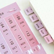 1 pacote = 8 folhas cor arco-íris calendário notas pegajosas, diário de viagem caderno tempo adesivos pós notas, material escolar de escritório