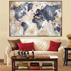 Map of the world art paintings retro posters printed wall painting modern Nordic home sitting room adornment art