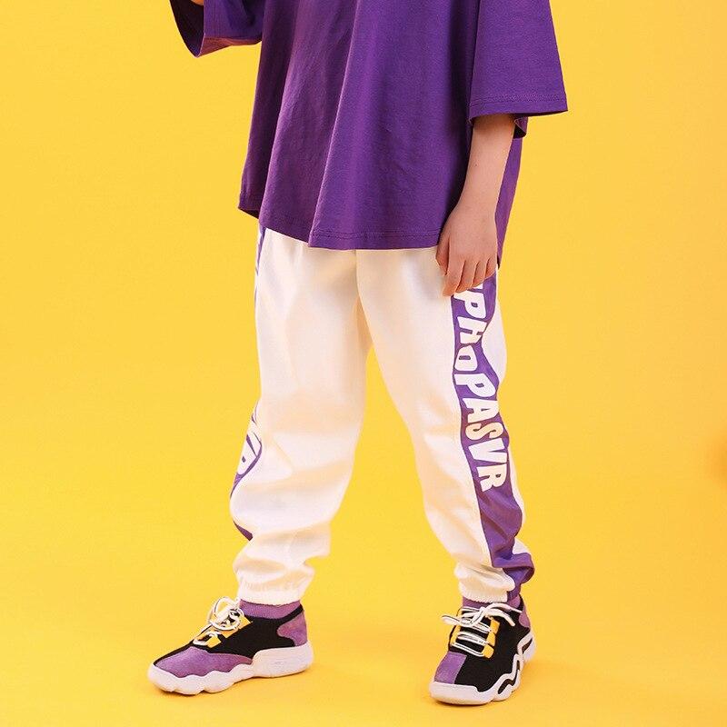 Детская одежда в стиле хип-хоп свободная футболка большого размера повседневные штаны для девочек и мальчиков, одежда для джазовых танцев костюмы, одежда для бальных танцев - Color: white pants