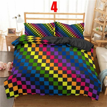 WOSTAR 3d Rainbow Stripe Printed Comforter Bedding Sets Modern Geometric Twin Queen Size Polyester Duvet Cover For home decor 10