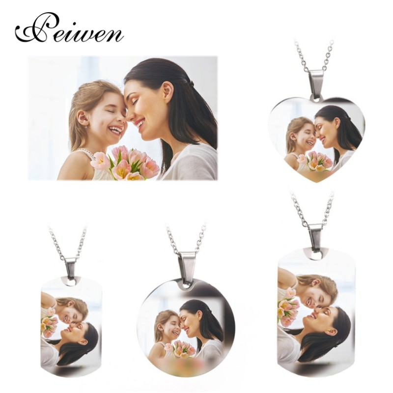 Custom Name Photo Heart Round Tag Necklace Personalized Nameplate Gold Silver Color For Women Men Customized Letter Jewelry New