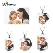 Nome personalizado foto coração redondo tag colar personalizado placa de identificação cor de prata de ouro para as mulheres