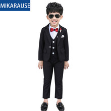 Mikarause 3PCS Black Slim Suits For Boys Single Breasted Non-Iron Blazers 2-10Y Toldder Baby Boy Suit For Weddings Wear Tuxedos(China)
