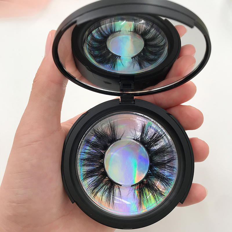 Espelho lash caso natural regular cílios rosa