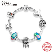 Hight Quality 925 Silver Animal Flower Charm Bangles Women Jewelry 925 Sterling Silver Pendant Moon Bracelet DIY Handmade Gift(China)