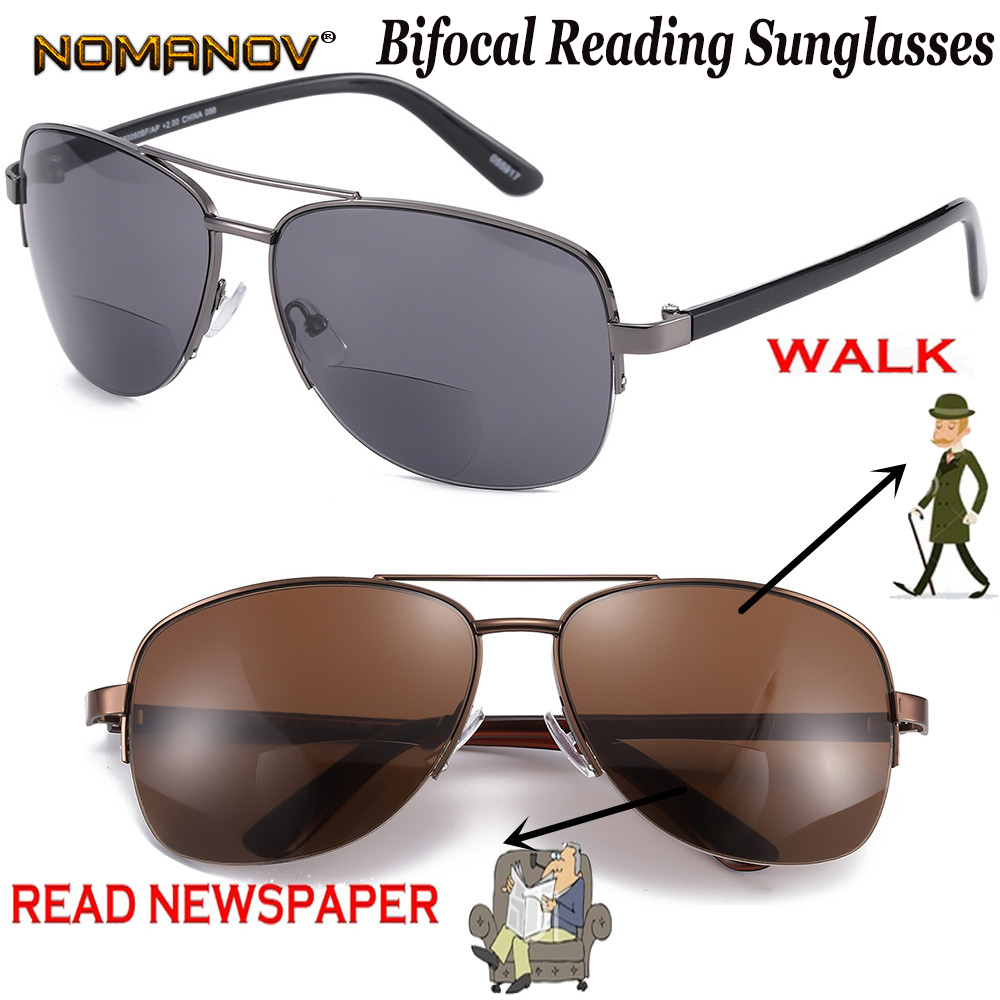 NOMANOV Half-rim Bifocal Lenses Reading Sunglasses See Near Far Reading Glasses +0.75 +1.5 +1.75 +2 +2.25 +2.5 +2.75 To +4