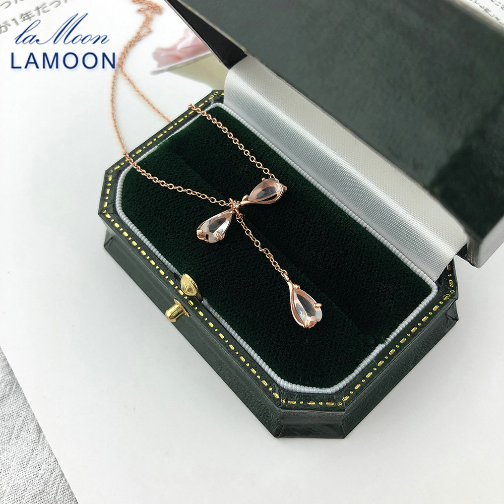 LAMOON Sakura 925 Sterling Silver Pendant Necklace Cherry Blossoms Petal Rose Quartz 18K Rose Gold Plated Fine Jewelry LMNI086(China)