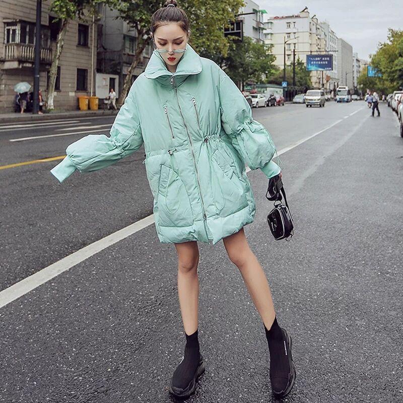 2020 Winter Chic Mint Green Women Parkas Casual Female Jacket Bread Cotton Padded Coat Thicken Warm Loose Outwear