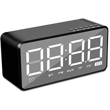 Digital Mirror Alarm Clock,Wireless Bluetooth Speaker Clock Radio with FM,Support TF Card&3.5mmAUX Line For Phone
