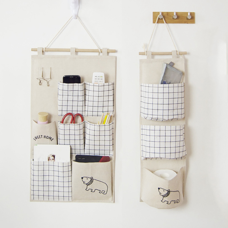 Cotton And linen Hanging Seven Pocket Storage Bag Cotton Linen Wardrobe Wall Pouch Toys For Bedroom Kitchen Bathroom little book of earrings