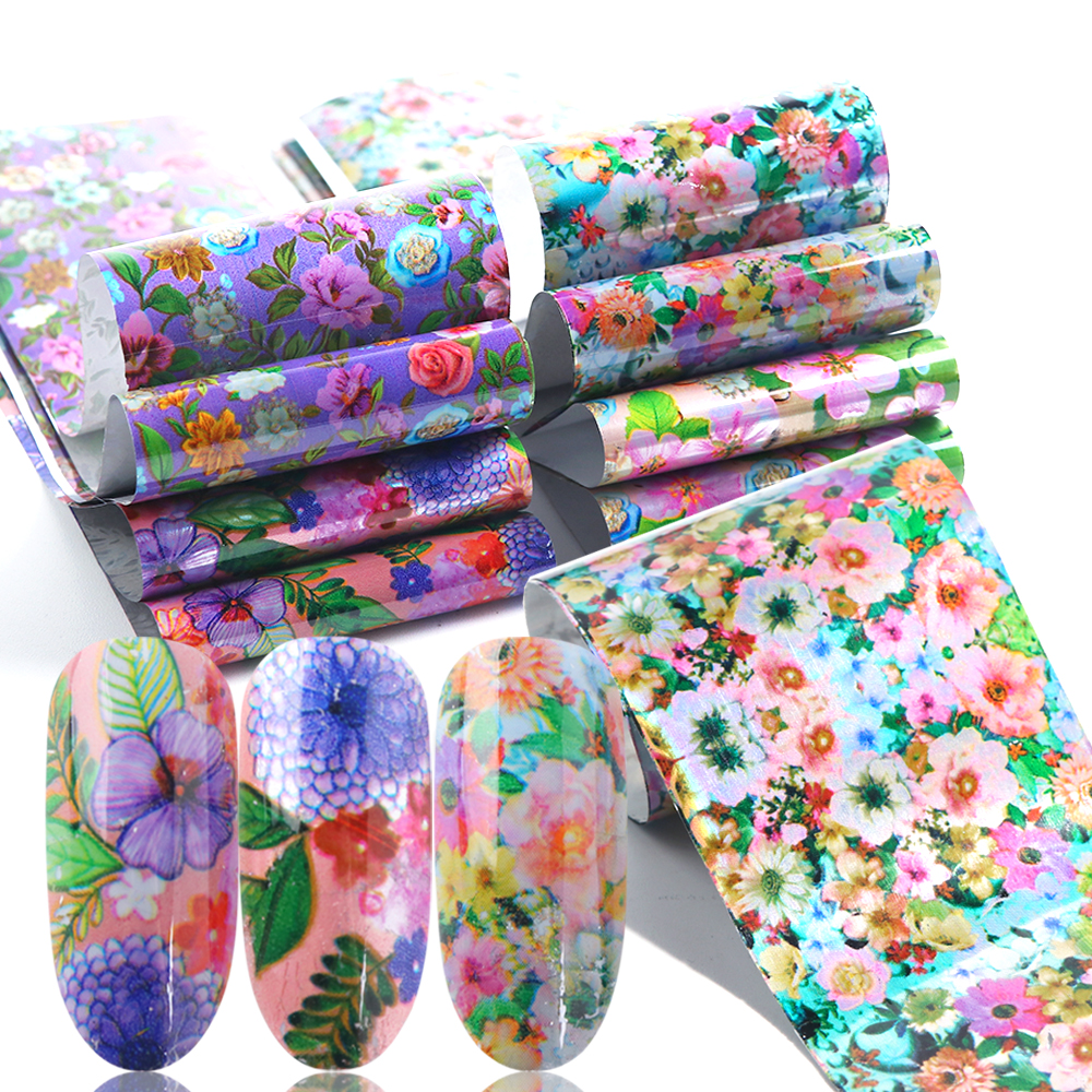 Holographic-Transfer Nail-Art Wraps Foils Spring Tattoos Mixed-Flowers 3d-Sliders Manicure-Tips-La795