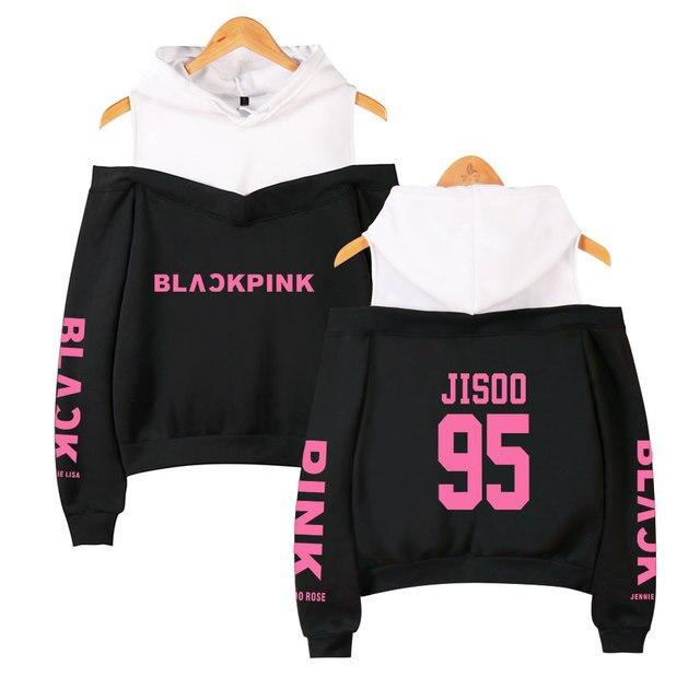 2019 black pink Off-Shoulder Top Hoody Funny Women's Hip Hop Casual Long-sleeved cotton  Hoodies & Sweatshirts 1