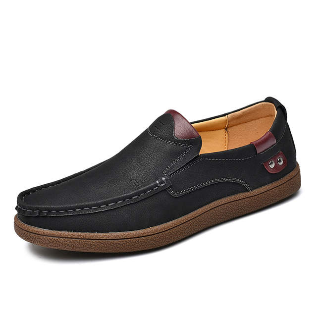 حجم كبير 46 مريحة حذاء رجالي جودة انقسام الجلود حذاء كاجوال الخريف أحذية من الجلد الرجال حذاء مسطح الأخفاف