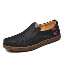 Mocasines planos de cuero partido para hombre, calzado informal de talla grande 46, para otoño