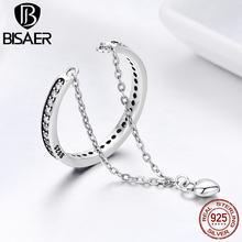 BISAER 100% Plata de Ley 925 claro CZ doble cadena y corazón pendientes de dedo ajustable anillos para las mujeres joyería de plata fina GXR291