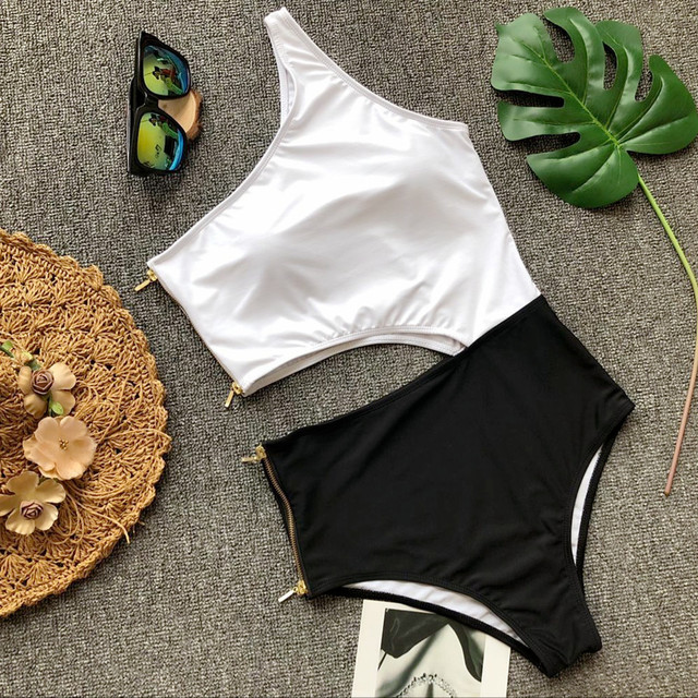 2020 Black And White Spliced Bikini Two Peice Set Sexy Generous Zipper Swimming Suit High Waist Hollow Out Bikini Swimming Suit