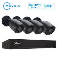 Sistema de videovigilancia Movols 5MP 8CH H.265 DVR 4 Uds 2592*1944 HD Kit de cámara de seguridad interior/exterior ir-cut P2P Sistema de CCTV